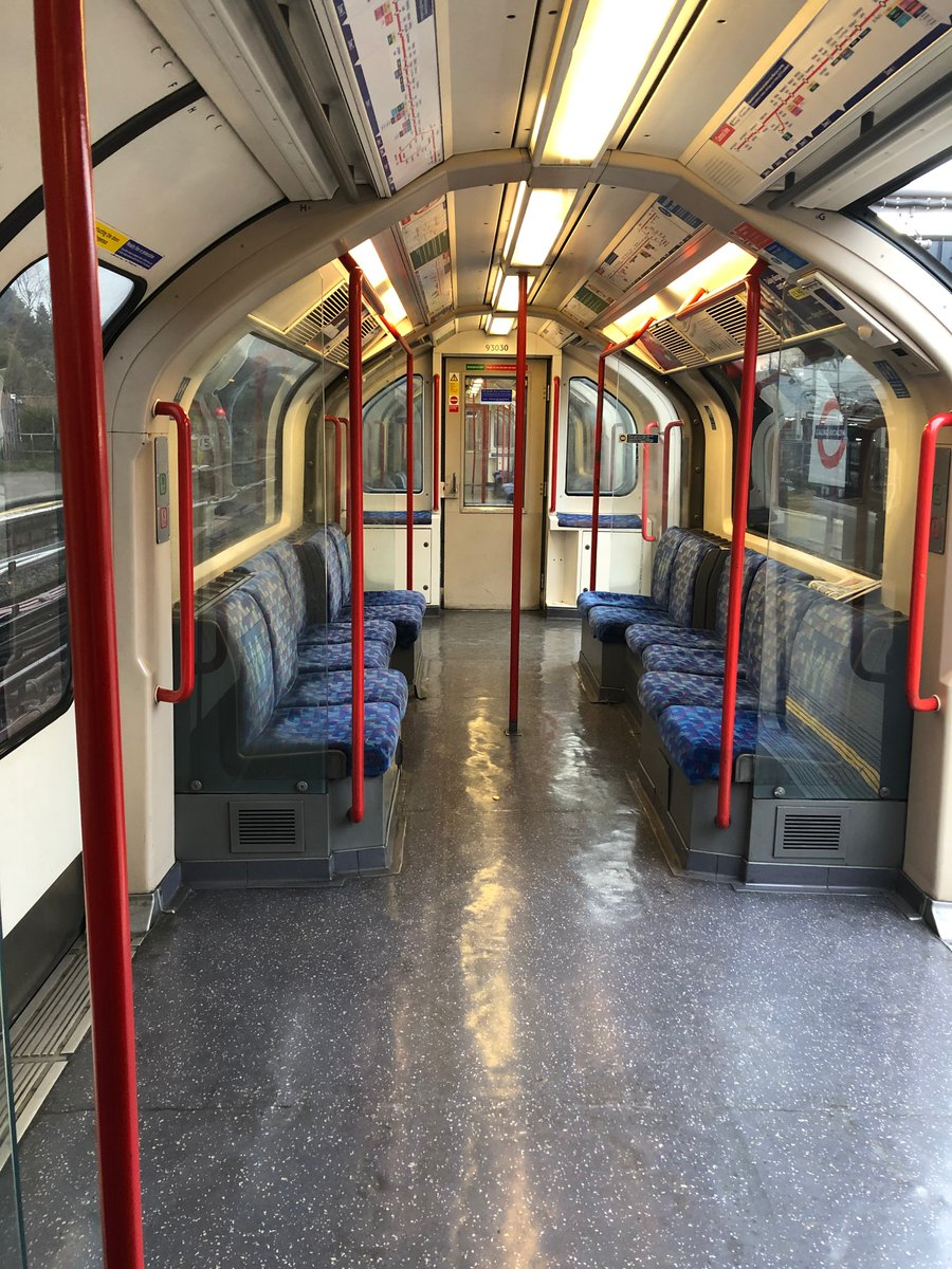 Central line tube at Ealing Broadway at 07:30 this morning. Social distancing (working from home, etc) seems to be biting. Photo from my daughter who is working with the NHS...