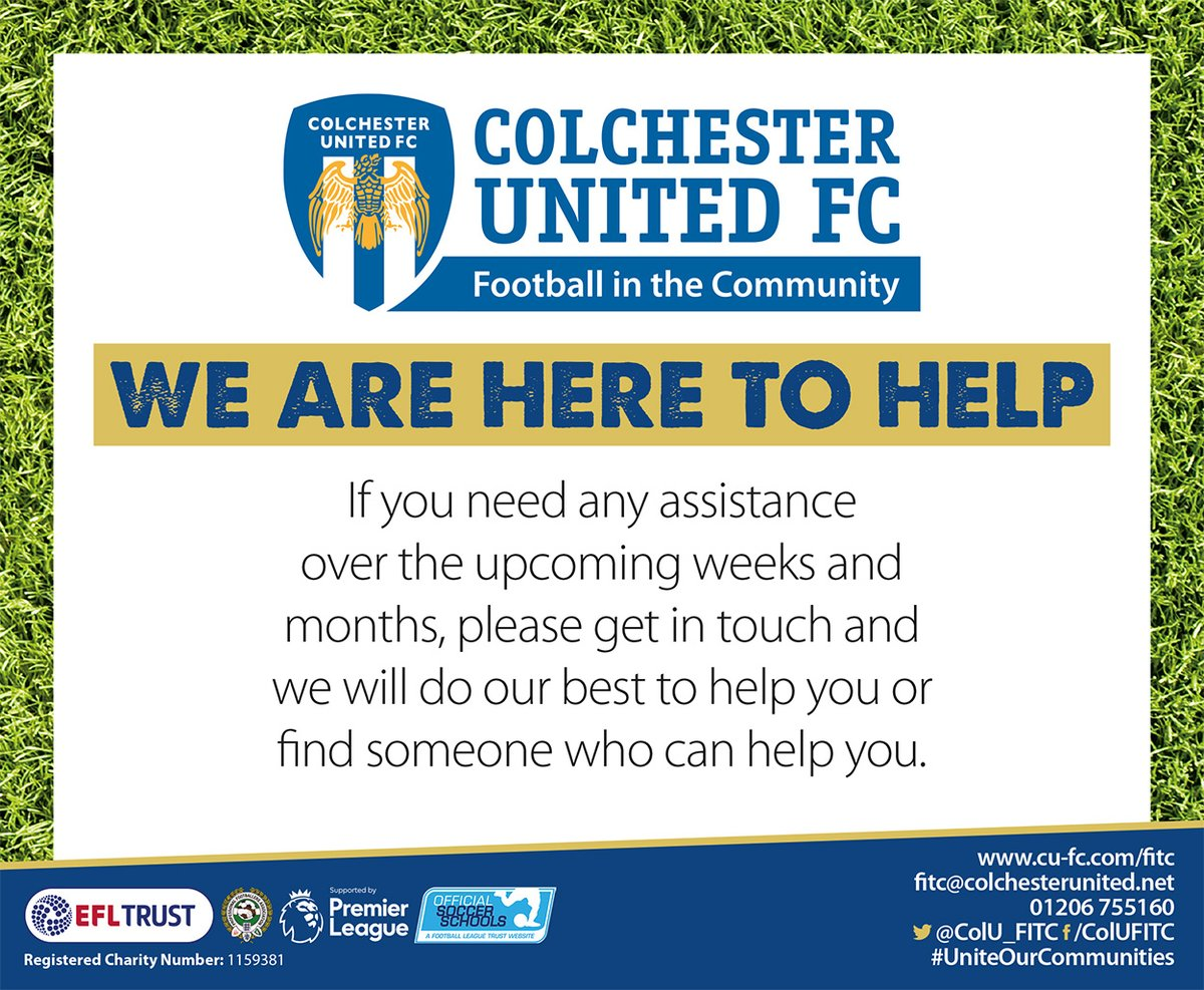 WE ARE HERE TO HELP   If you need any assistance in the coming weeks please get in touch 🔵⚪️ 💻fitc@colchesterunited.net #UniteOurCommunities #ColU @ColU_FITC @EFLTrust @PLCommunities