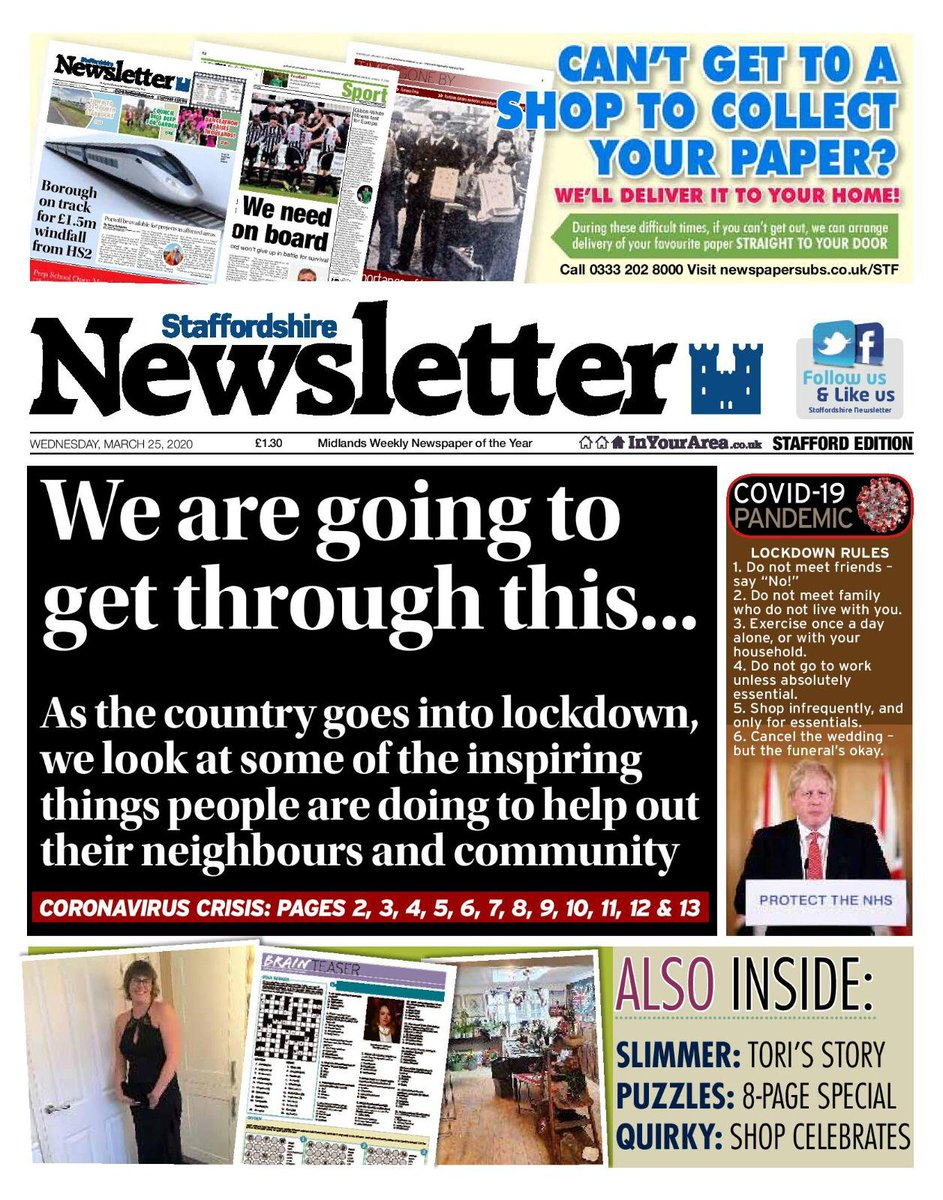 🗞️📰 Get trusted local news straight to your door. Call 0333 202 8000 to arrange delivery for you or someone you know who cant get out. Or you can online shop here 👉 newspapersubs.co.uk/pc/STF If we can help, just shout up. Thanks for being with us. 🗞️📰