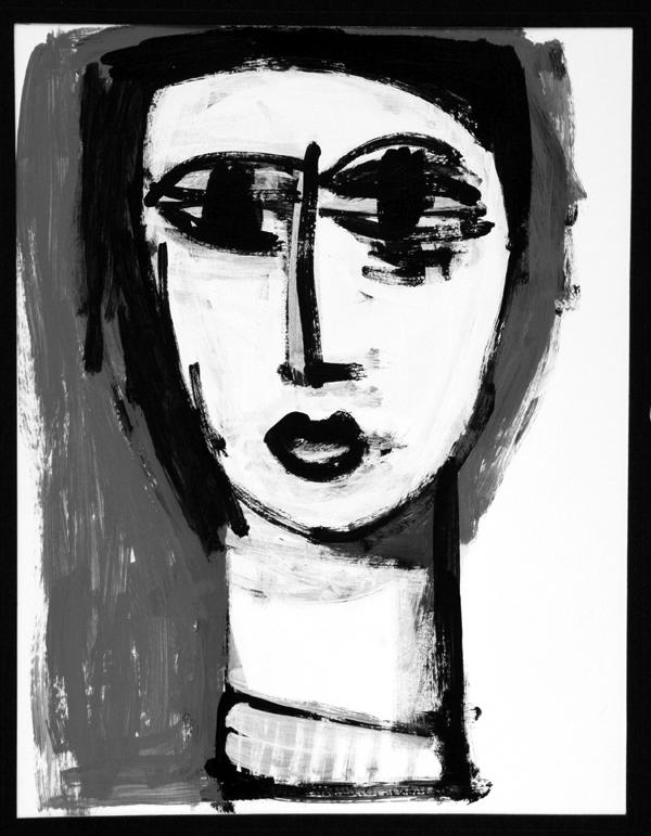 oil on paper - #girl  #femme #lady #woman #surrealism  #portrait #artcollector #artgallery #modernartist #outsiderart #contemporarypainting #originalart  #contemporaryartist #psychology #crazy  #psychological  #bigeyes #blackandwhite #cool #nicegirl #Bella