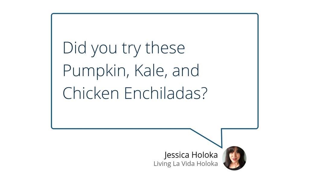 Pumpkin, Kale, and Chicken Enchiladas  #Enchiladas #Easyweeknightdinner #Recipe