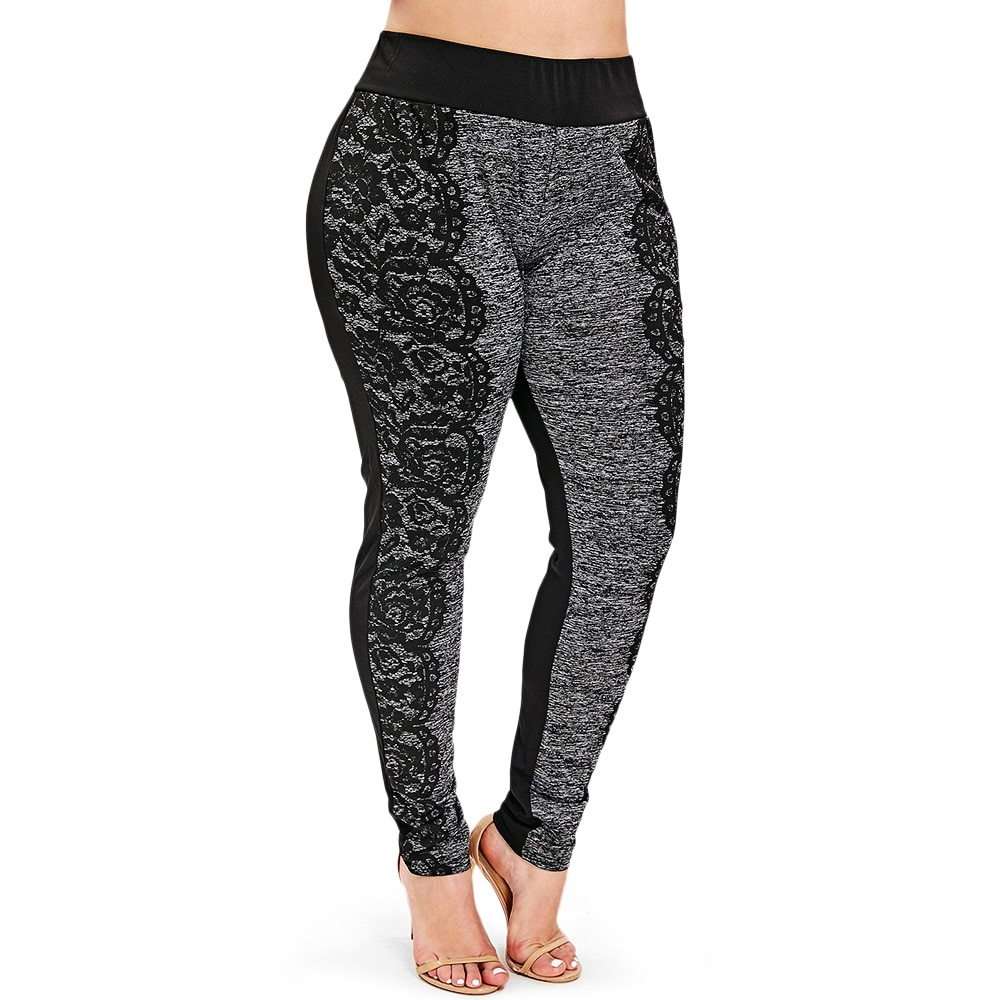 #girls #activewear Women's Plus Size Lace Printed Leggings