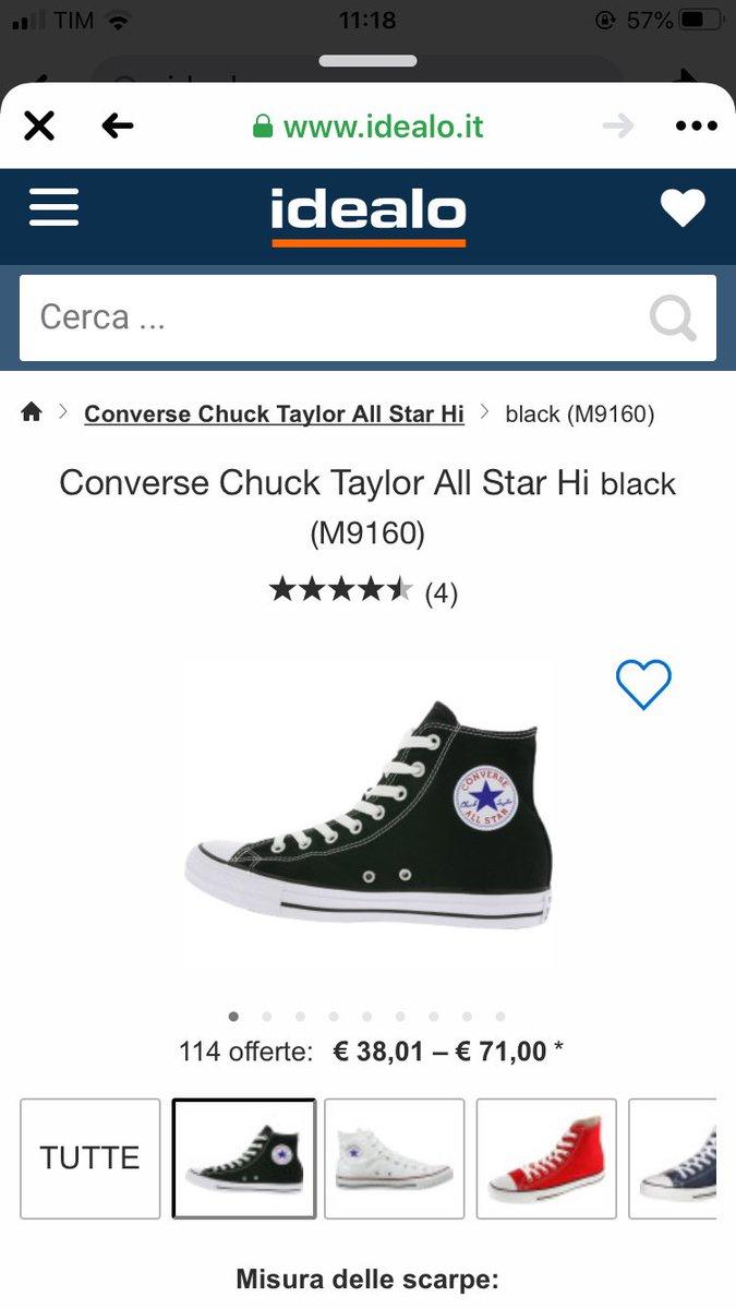 all star converse taglia 18