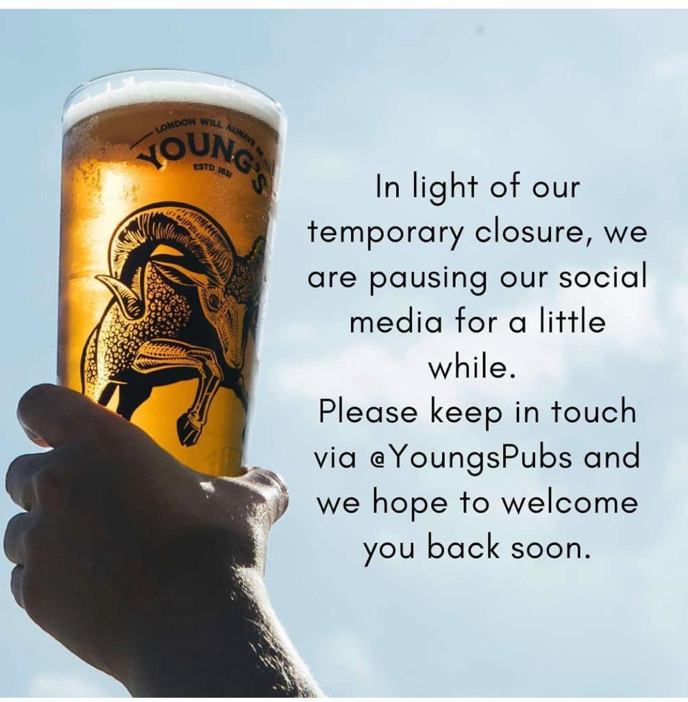 In light of our temporary closure, we are pausing our social media for a little while. Please keep in touch via @youngspubs and we hope to welcome you back soon. https://t.co/KrpFiRNhy8