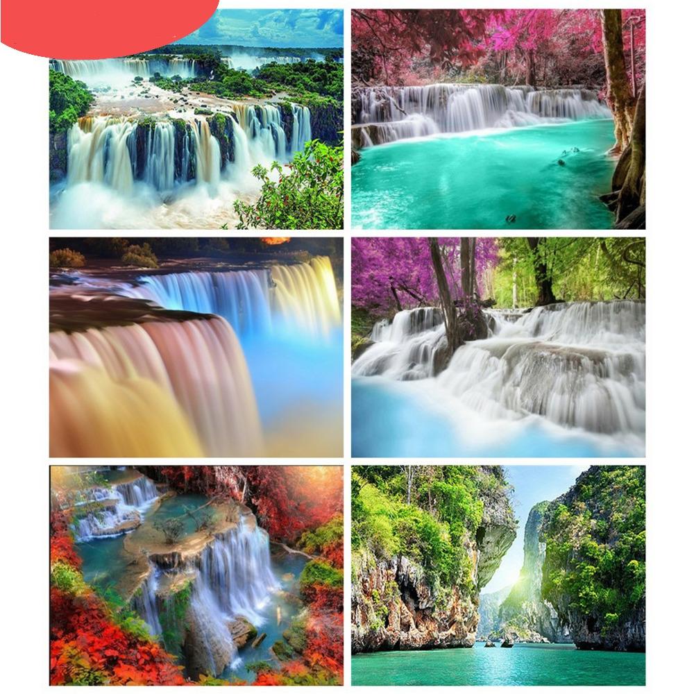 #instagood #gundam Waterfall Full Round 5D Diamond Embroidery Painting