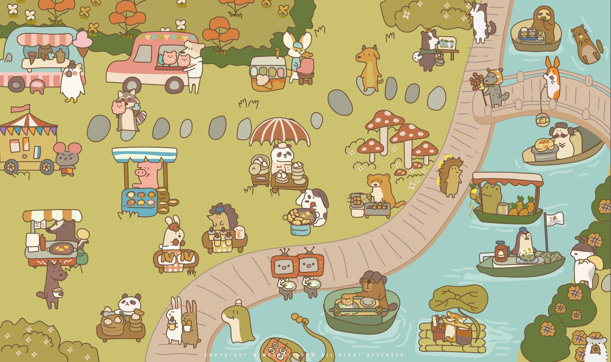 """Animal Restaurant on Twitter: """"Riverside Scenes of Animal Restaurant🐾~  creation by @ribbitmuseum (ig) Did you find anything interesting in this  painting?👀 #animalrestaurant #animal_restaurant #Gumi #catsoffacebook  #Eggy #animal #fanart… https://t.co ..."""
