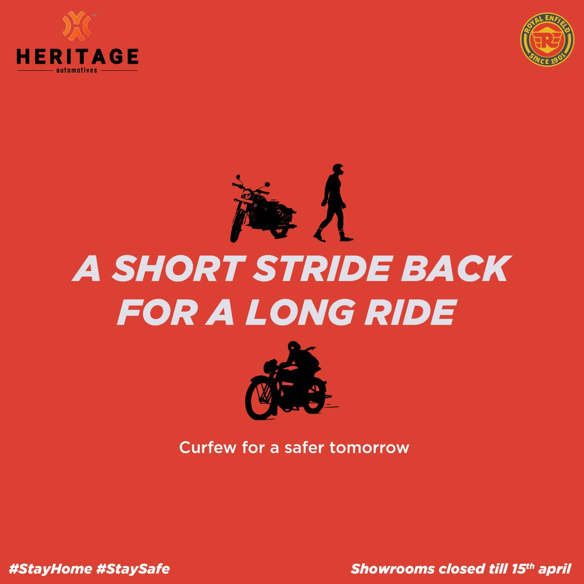 Following National Lock down announced by PM, All Heritage Automotives showrooms will be closed until further notice. We Request everyone to Stay Home and Stay safe for a better tomorrow. . .#stayhome #staysafe #lockdown #curfew #royalenfield #bullet #royalenfieldindia #classicpic.twitter.com/VOkli3q9hi