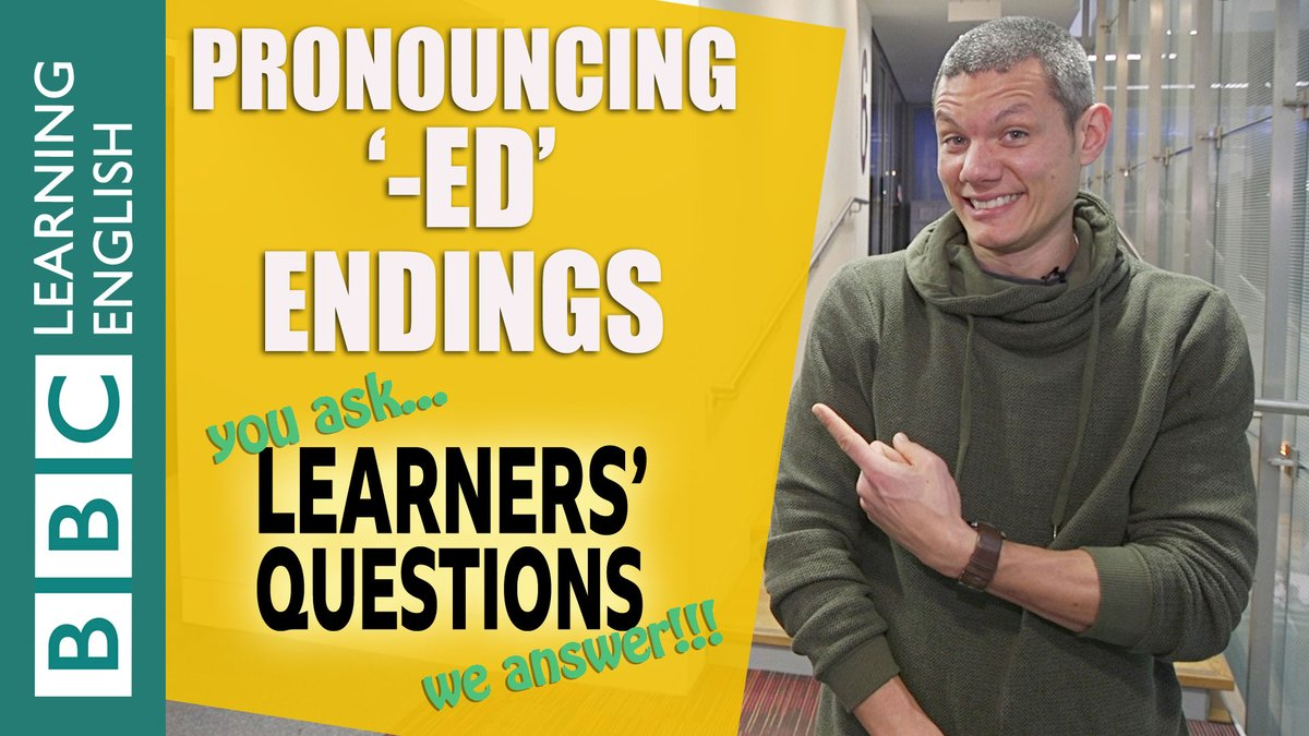 """How do we #pronounce '-ed' endings?"" Dan has the answer!  Watch here: https://youtu.be/I-nMqycHubU  Enjoy more Learners' Questions here: http://bit.ly/2HYETLB   #bbclearningenglish #askmeanything #Pronunciation #PronunciationTips #SpeakEnglish #BritishEnglish  #EnglishPronunciationpic.twitter.com/c4s6dKLGux"