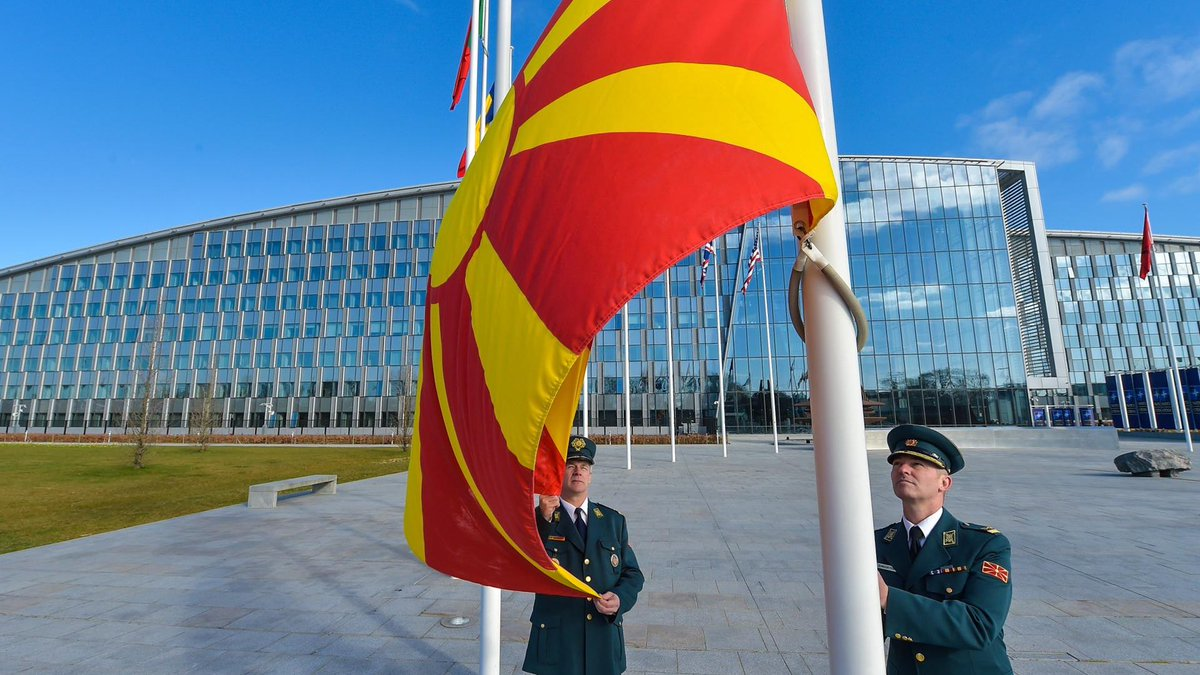 Historic moment. 30 flags are raised outside #NATO HQ as we welcome #NorthMacedonia 🇲🇰 as our newest member: http://bit.ly/2JqkVJO  #WeAreNATO