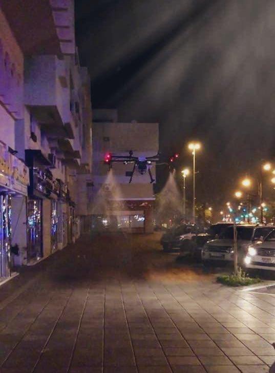 #Dubai at night, city lockdown and drones sanitizing the city. Unreal. pic.twitter.com/szKEX9dvQo