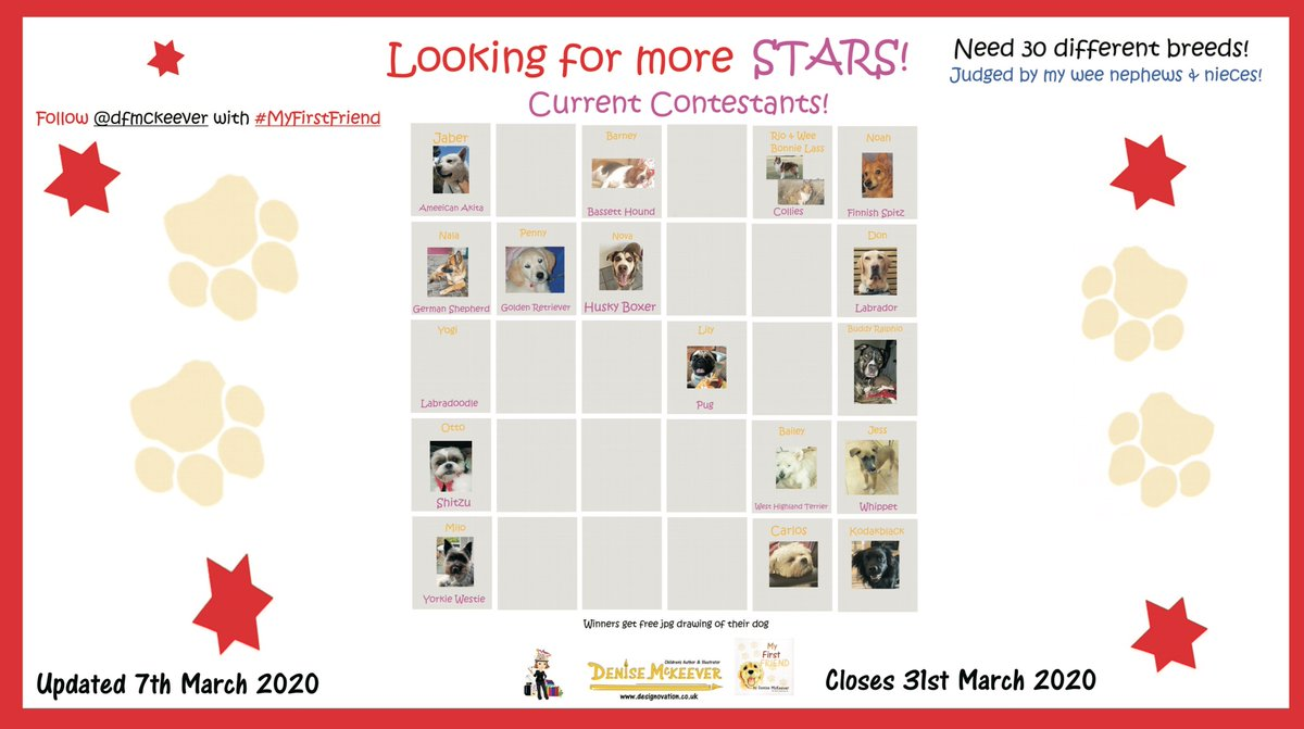 Still looking for more contestants #MyFirstFriend have your Best Friend star in my new book! Closing very soon-Please SHARE! #Dog #Pets #pooch #pooches #pup #puppy #canine #dogowner #RescueDogs #goldenretriever #labrador #pug #poodle #GermanShepherd #BullDog #Beagles #Terriers