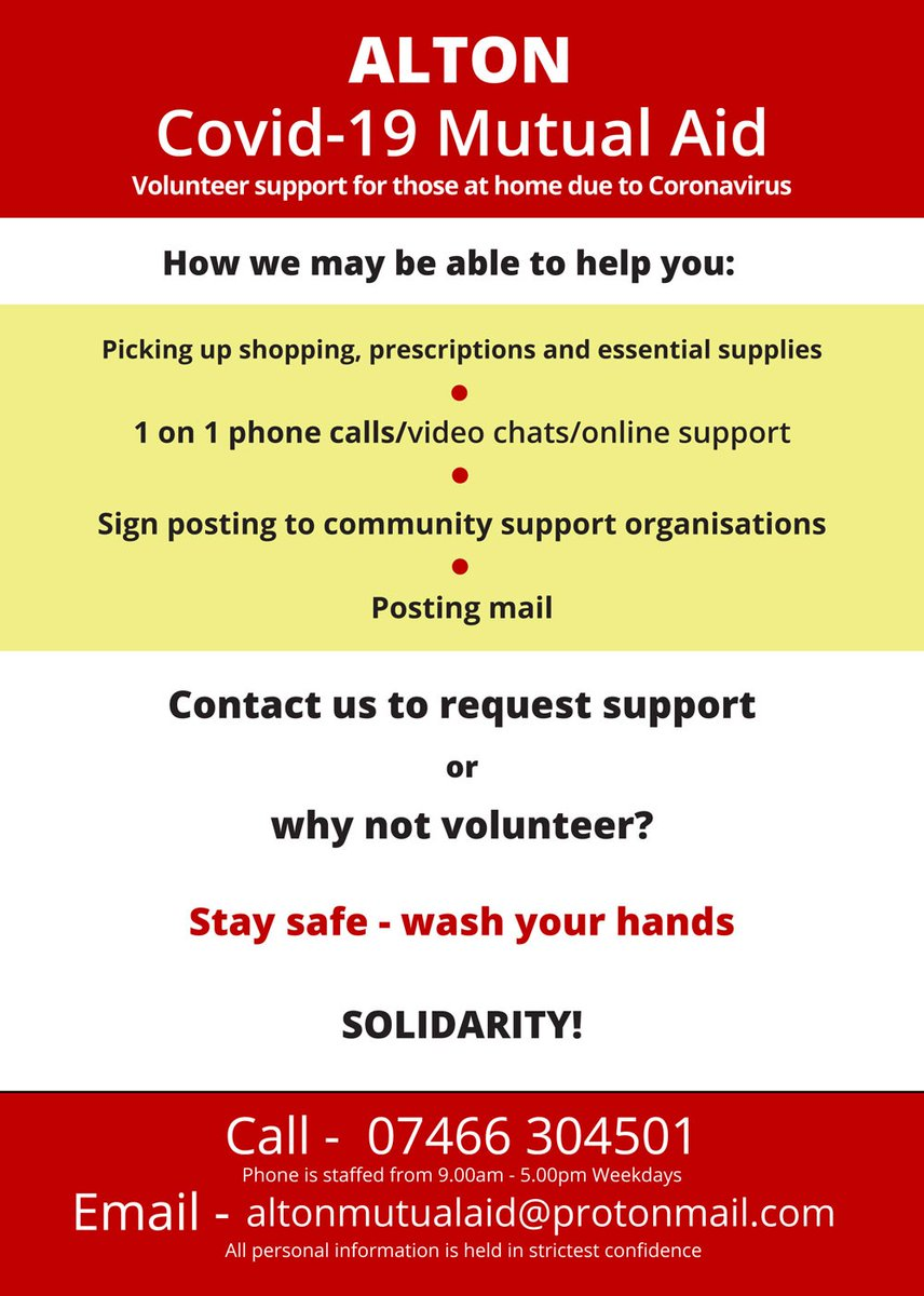 If you are self-isolating, vulnerable or just in need of help, please see below for how to contact a wonderful group of volunteers available to help. Even if you just need to hear a friendly voice! #covid19 #bekind #stayathomepic.twitter.com/BVvZcu66fZ