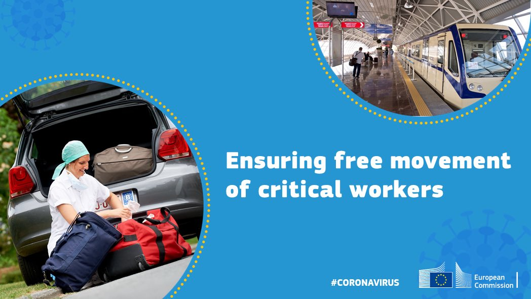 Thousands of people crossing #EU borders daily are working hard to keep us safe, #healthy and with #food on the table - our joint responsibility is to make sure they aren't hindered in their movement while taking necessary precautions regarding #covid19 👉