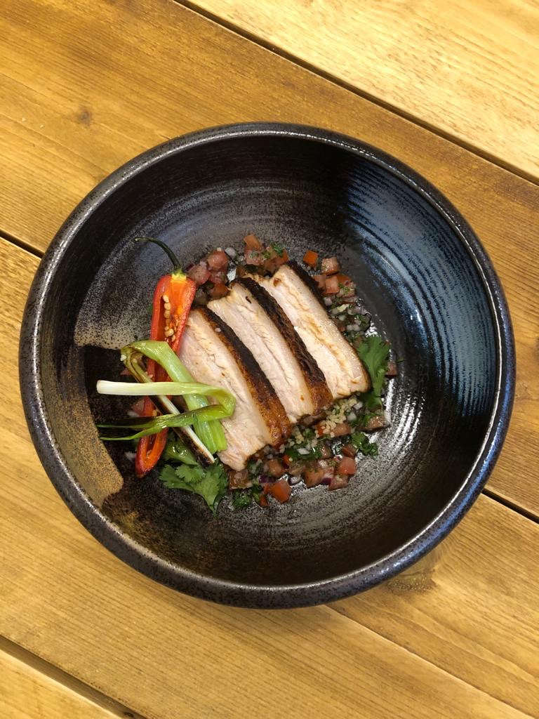 Honey and soy belly pork, with spring onion and chilli salsa  Just because!  #motivationmonday #infusedfood #menudevelopment #food #foodservice #fooddevelopment