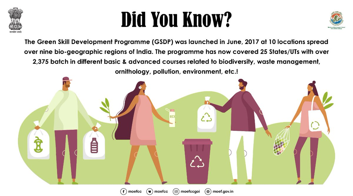 MoEF&CC's various ENVIS Resource Partners are successfully running the Green Skill Development Programme (#GSDP ), making youths skilled in the field of #Biodiversity , #Environment , #Forest  and #ClimateChange