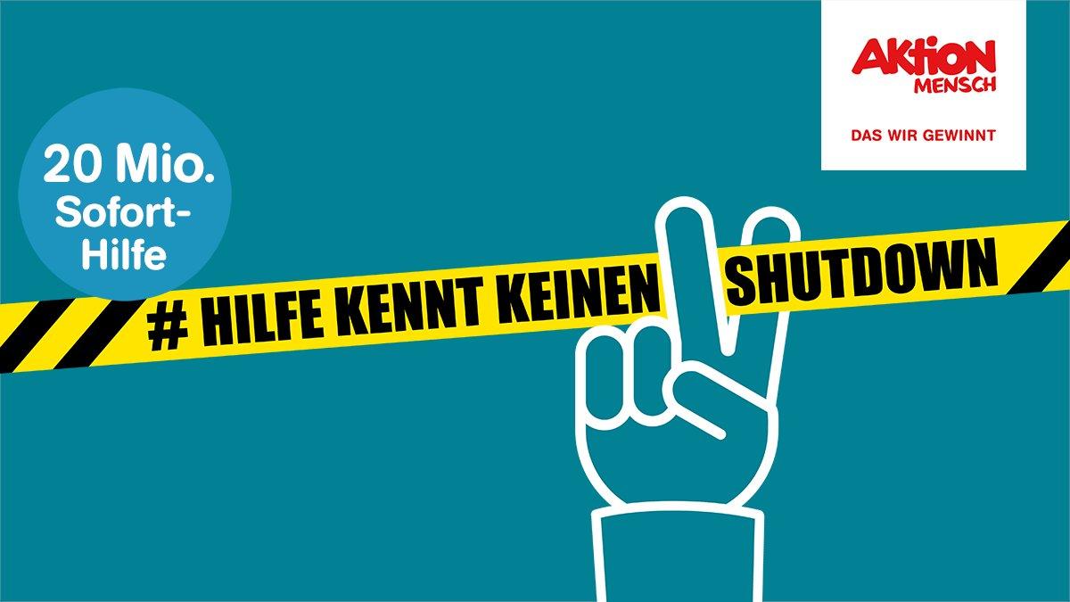 Ein Absperrband und eine Hand, die es zerschneiden will. Text: #Hilfe kennt keinen Shutdown. 20. Mio. Euro Sofort-Hilfe