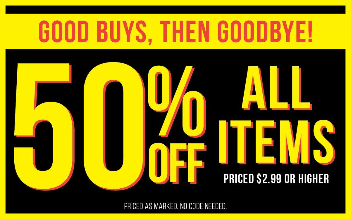 All items, now 50% off! https://t.co/1nImF4Lmfm https://t.co/ckzZuJB289