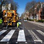 Image for the Tweet beginning: Beatles' Abbey Road crossing repainted