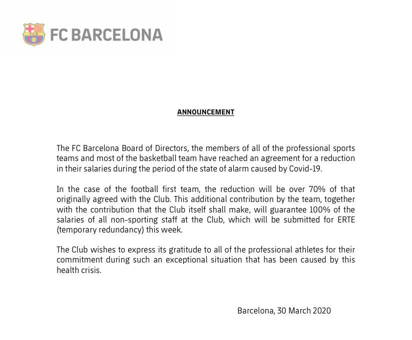 Communiqué Barça
