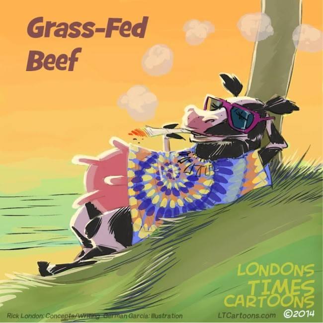 #GrassFedBeef by @LTCartoons #beef #organic #cannabis #mmj #cow #cows #hippies #the60s #cartoons #comics #humor #funny #weird #strange #bizarre #LOL #LTCartoons