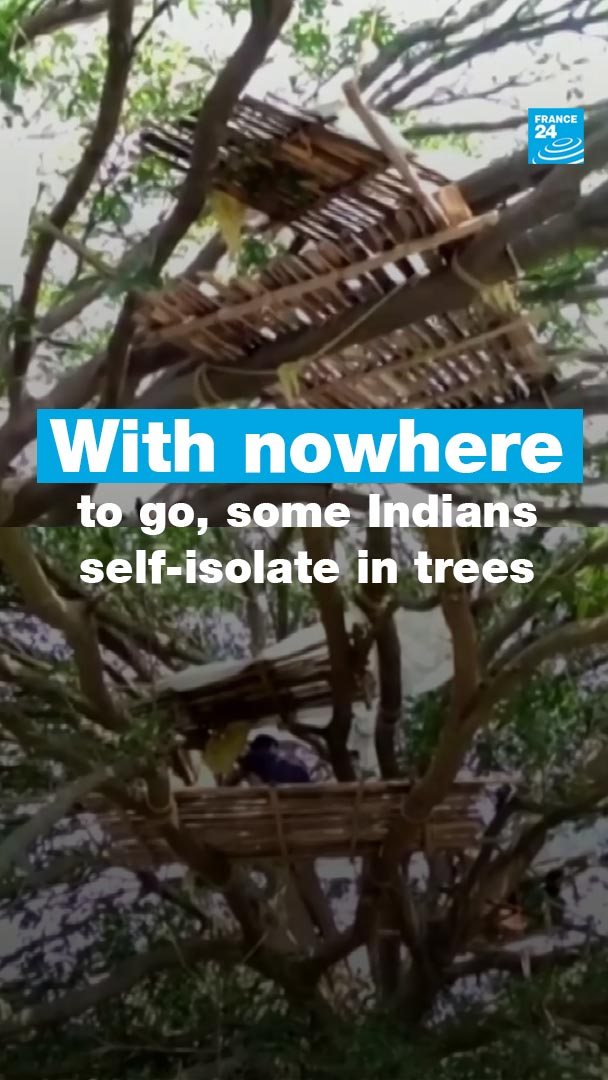 In #India 🇮🇳, some villagersare self-isolating on trees in order to keep their families safe from the deadly #coronavirus