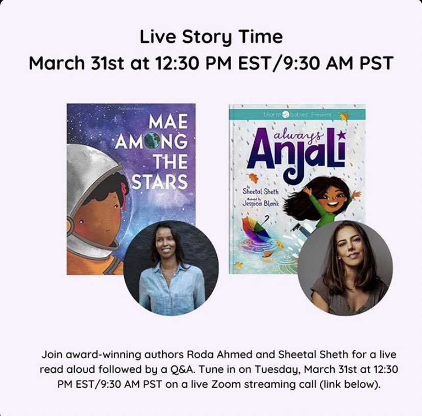 Dear Parents, Live Story Time with @sheetalsheth. Here's the ZOOM link to join: us04web.zoom.us/j/699497729?pw…