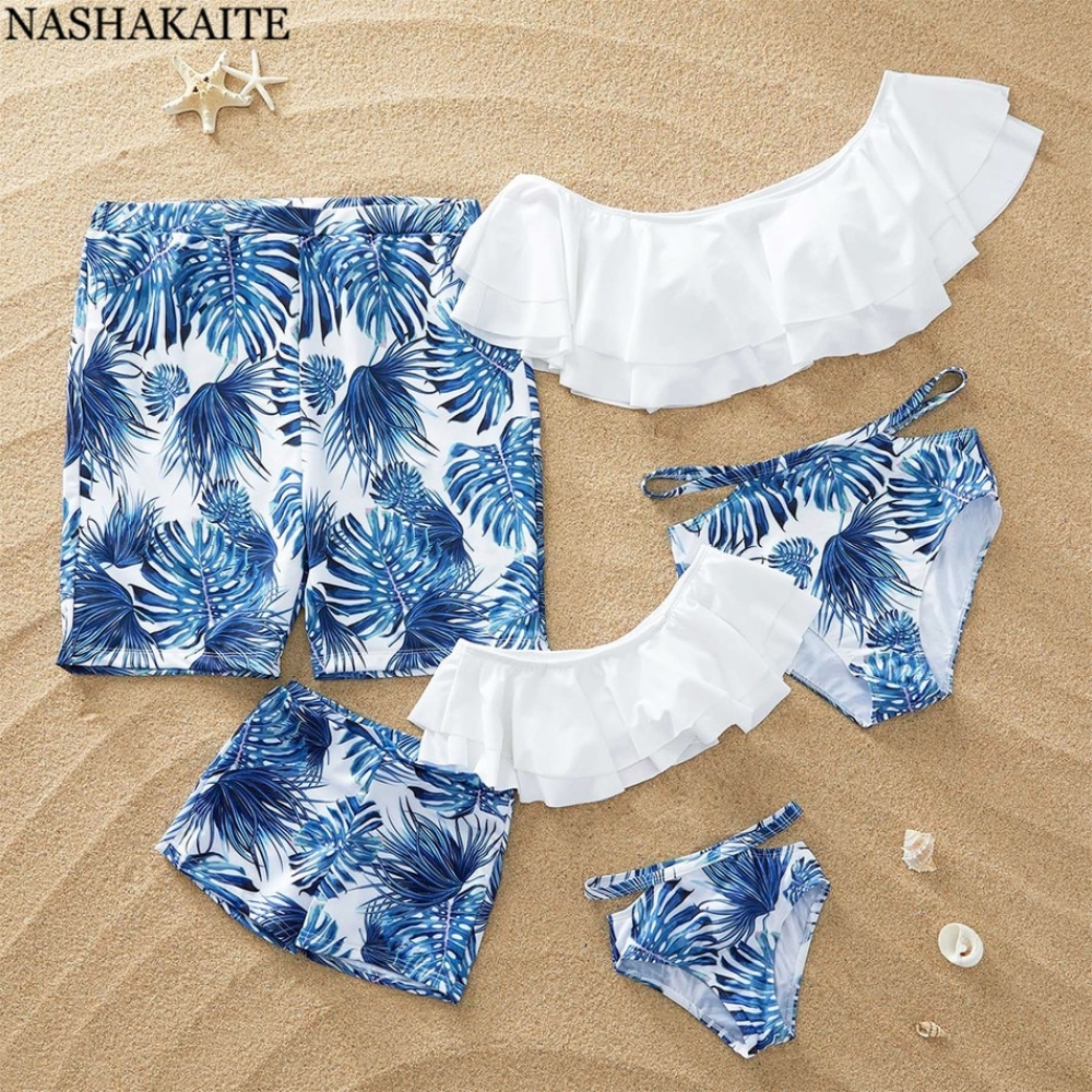 #babyshop #bebe #sweet NASHAKAITE Family Matching Swimsuit Summer Beach Holiday Blue Leaf Print Mommy and me swimsuit Dad and Son Swimwear Shorts