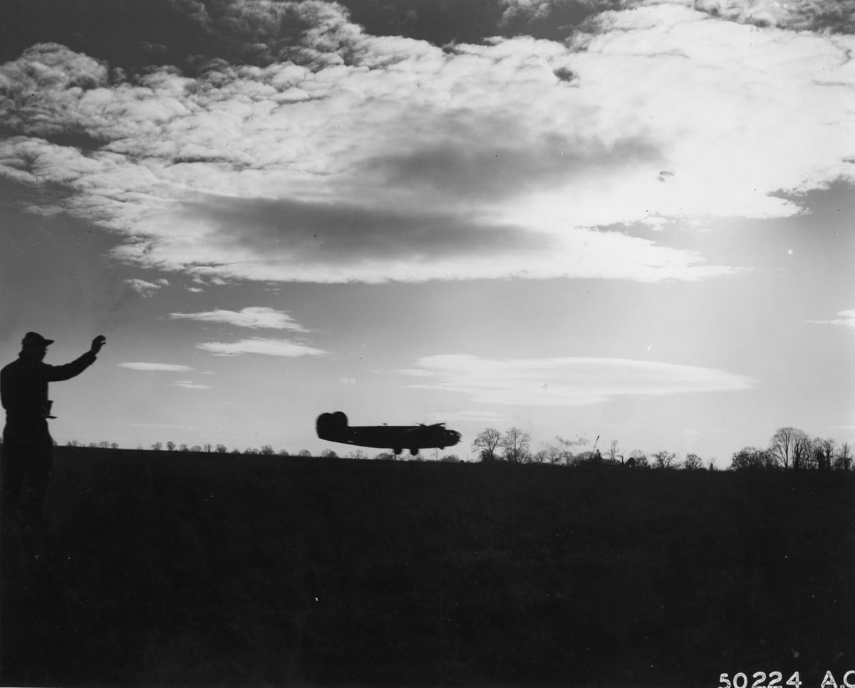 A B-24 Liberator of the 44th Bomb Group takes off in the early hours of the morning. Image @I_W_M #WWII #WW2 #SWW #USAAF #USAF #avgeeks