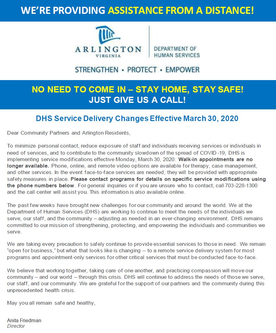 Important information for Arlington Families regarding DHS services effective March 30th.  <a target='_blank' href='http://search.twitter.com/search?q=StayAtHomeAndStaySafe'><a target='_blank' href='https://twitter.com/hashtag/StayAtHomeAndStaySafe?src=hash'>#StayAtHomeAndStaySafe</a></a> <a target='_blank' href='https://t.co/CixOuEhXNN'>https://t.co/CixOuEhXNN</a>
