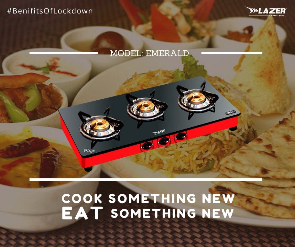 """Cook something new, eat something new, with Lazer India's """"Emerald"""" 3 burner glass cooktop, 100% anti-leak proof.    Follow us -  #BenifitOfLockdown #StayHome  . . . #केजरीवाल_खूनी_है #Bareilly #Foody #foodie #foodaholic #buzzfeastfood #foodblogger"""