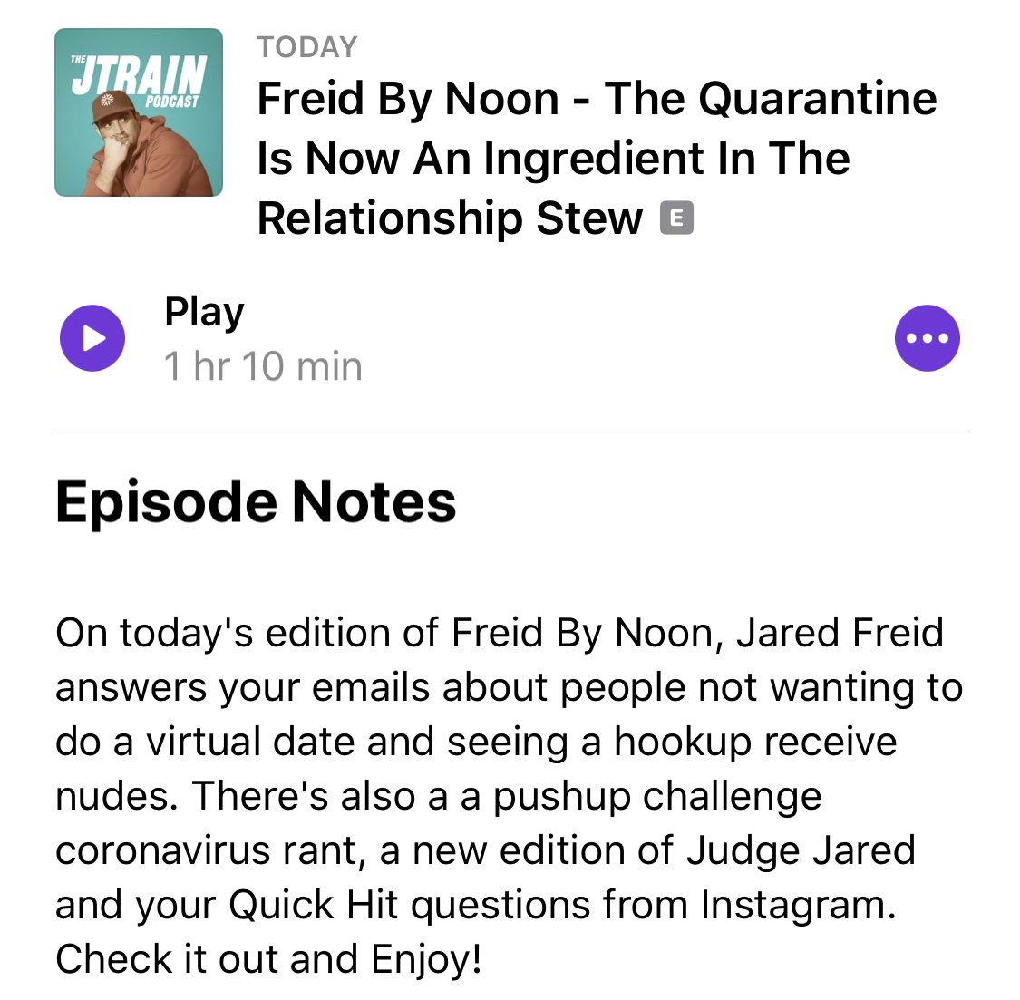 NEW @JTrainPodcast!! The Quarantine Is Now An Ingredient In The Relationship Stew >> podcasts.apple.com/us/podcast/the…