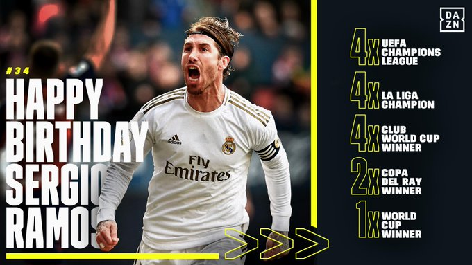 Happy Birthday to Sergio Ramos! One of the most accomplished defenders of our time.