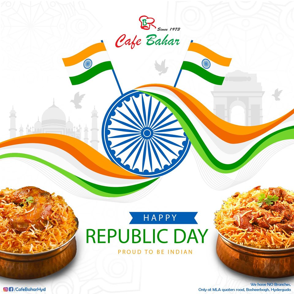 #RepublicDay #RepublicDayIndia #Democracy #Constitution #Perfection #CafeBahar #Authentic  Happy Republic Day🇮🇳 Celebrate the freedom of relishing your favourite delicacies without any hassles.  Note: We have NO Branches | Beware of Fake Cafe Bahar! Location: Old MLA Quarters Rd. https://t.co/3kLCsrq4KM