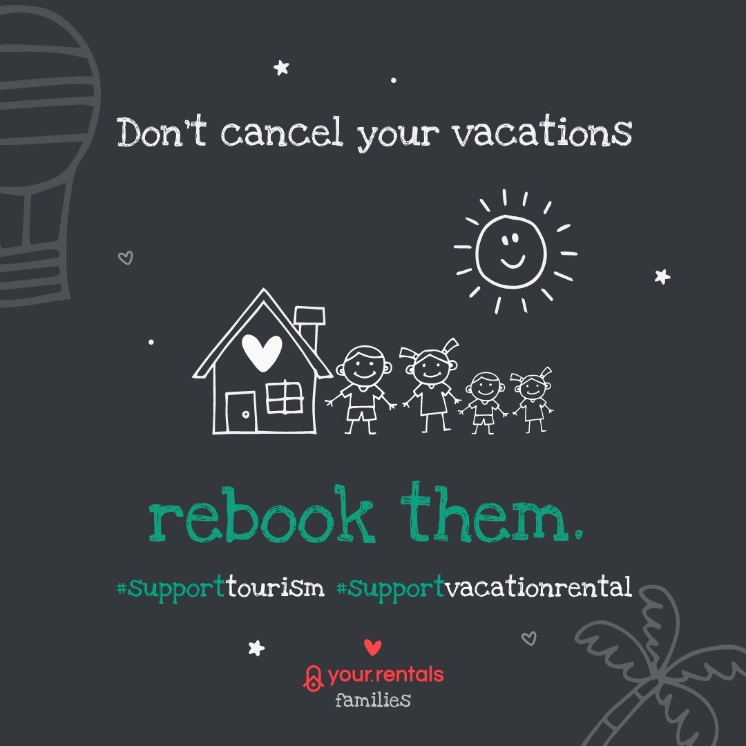Rebook, don't cancel!  During the #COVID-19 crisis, we encourage guests to #rebook for future dates. If you're open to this, ensure that your prices and availability are correct. Otherwise, please block dates or snooze your calendar. #yourrentals #vacationrentals #supporttourismpic.twitter.com/Tb0tVmPkuc