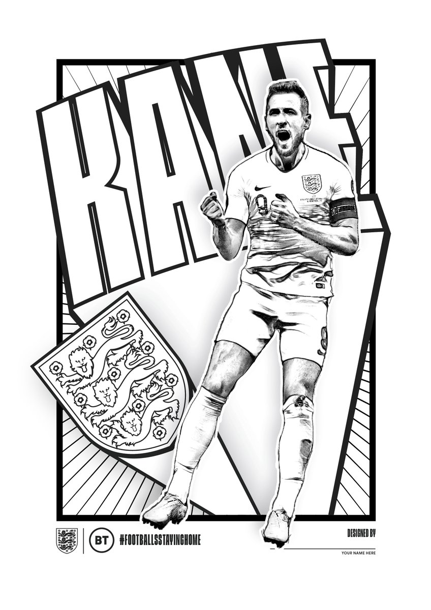Lets get creative with @bt_uk! 🎨 Colour in this great @HKane shot either digitally or printed out and send your best effort back to us using #FootballsStayingHome.