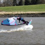 Image for the Tweet beginning: Windsurfing on the river Elbe