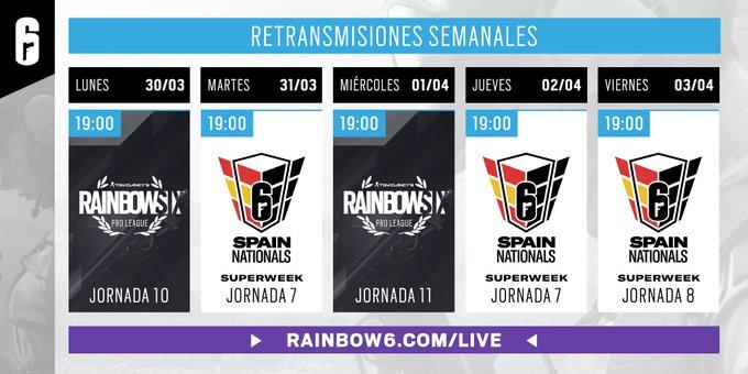 Esta semana viene cargada de competición de @Rainbow6ES  con jornadas de Pro League y de #R6SpainNationals . Tienes una cita con R6 contra el aburrimiento, todas las tardes a partir de las 19h.   No te lo pierdas en:  http://rainbow6.com/live