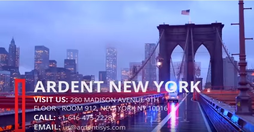 Ardent New York Visit Us  280 Madison Avenue 9th Floor - Room 912  New York NY 10016  #Telephone  +1-646-475-2228   #Email  Us us@ardentisys .com   http://www.ardentisys.com/about-us/contact-us  … #NewYork  #NY  #NewYorkCity  #US  #USA  #UnitedStates  #ContactUs  #ContactDetails