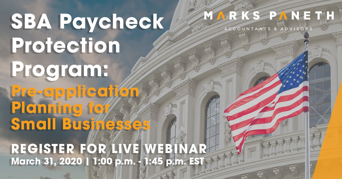 SBA Paycheck Protection Program:  Pre-application Planning for Small Businesses. Join this live webinar Tuesday, 3/31 at 1:00 pm for important details small businesses interested in the SBA Paycheck Protection Program will need to know. Register: https://hubs.ly/H0p0Kpq0pic.twitter.com/Bci160RZTS