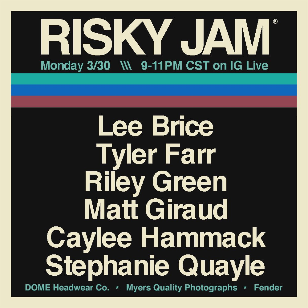 Make sure y'all tune in on Instagram Live tonight!! @WhiskeyJam #RiskyJam
