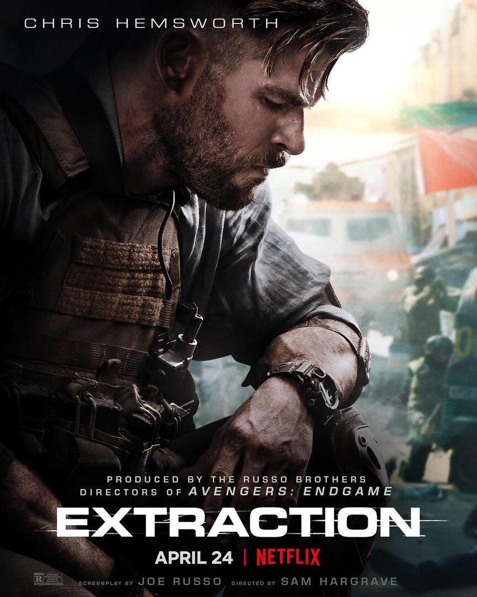#Extraction Release 1st Poster   1st #Trailer could drop any time now!!  Releasing on Netflix on April 24. pic.twitter.com/7hCggAbqYn