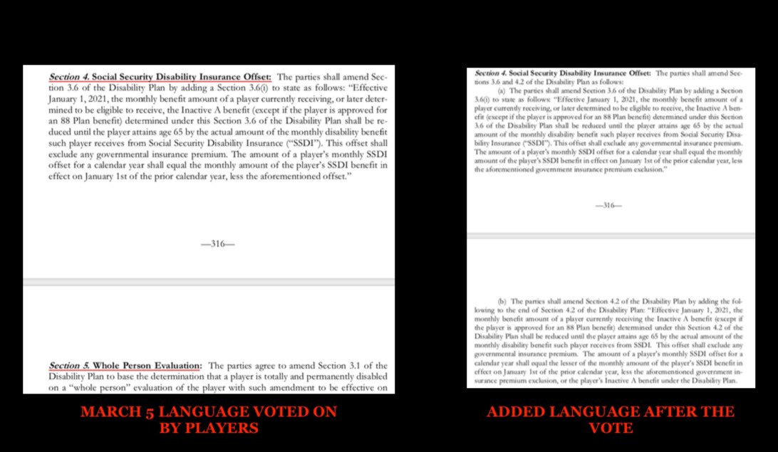 Side by side of the CBA language players voted on vs CBA posted on @NFLPA site post vote