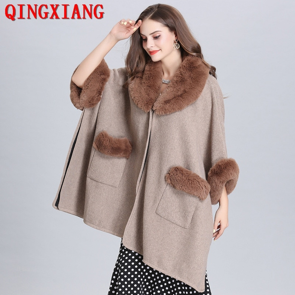 #friends #cool 2019 7 Colors New Plus Size Short Sleeve Cardigan Women Autumn And Winter Faux Fox Fur Collar Poncho Loose Warm Cloak Coat
