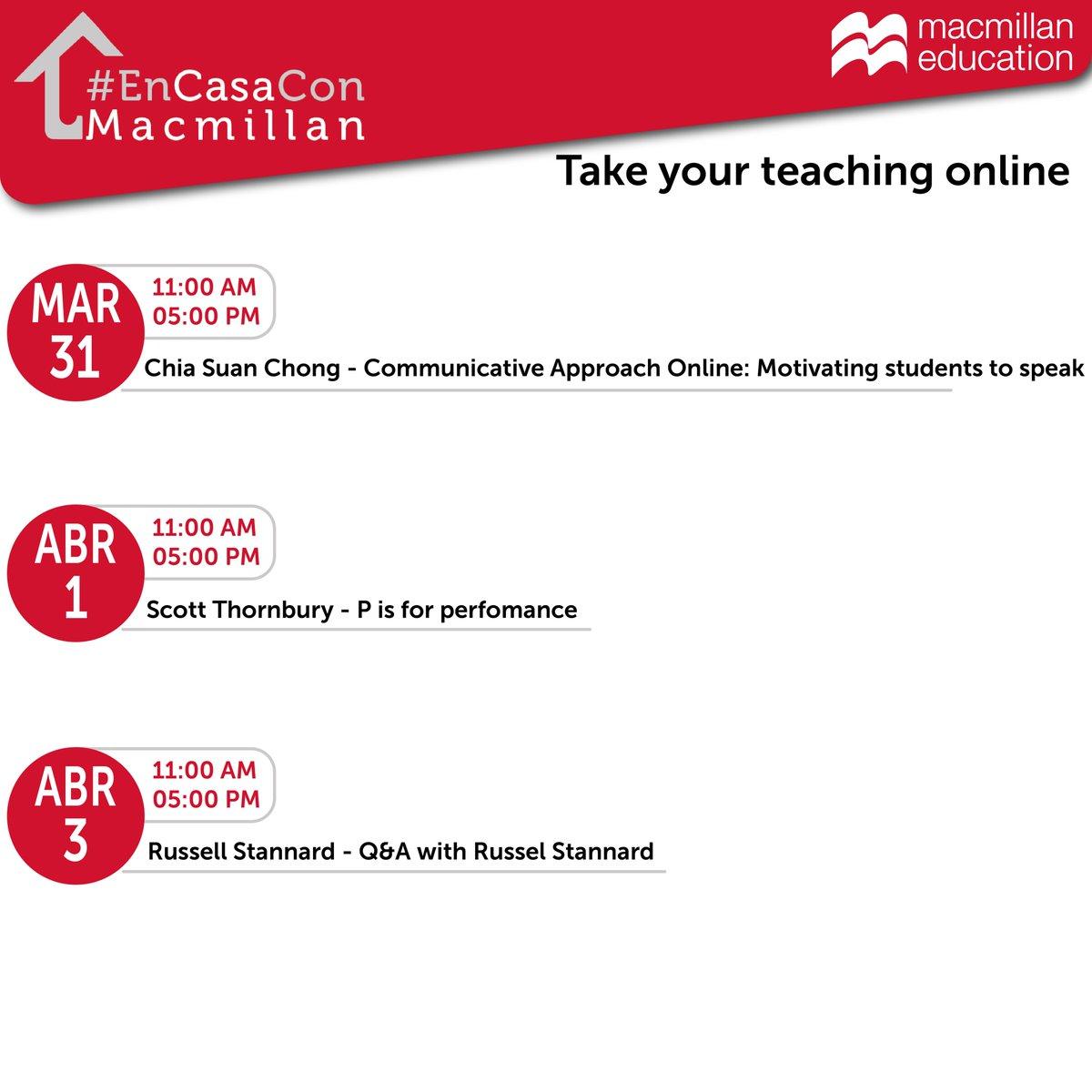 A new week means new webinars! Save the dates and join us for more online training.  #EnCasaConMacmillan #webinars #education #ELT #online #teacher #encasa #education #training
