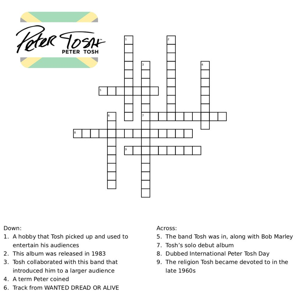 Wah gwaan? Think you know everything there is to know about Peter? Here is a #QuarantineChallenge for you. Print out, or use a PDF editor to complete. Answers will be posted tomorrow. 🇯🇲  #PeterTosh #Reggae #Herb #Crossword #Puzzle #Quarantine #StayHome