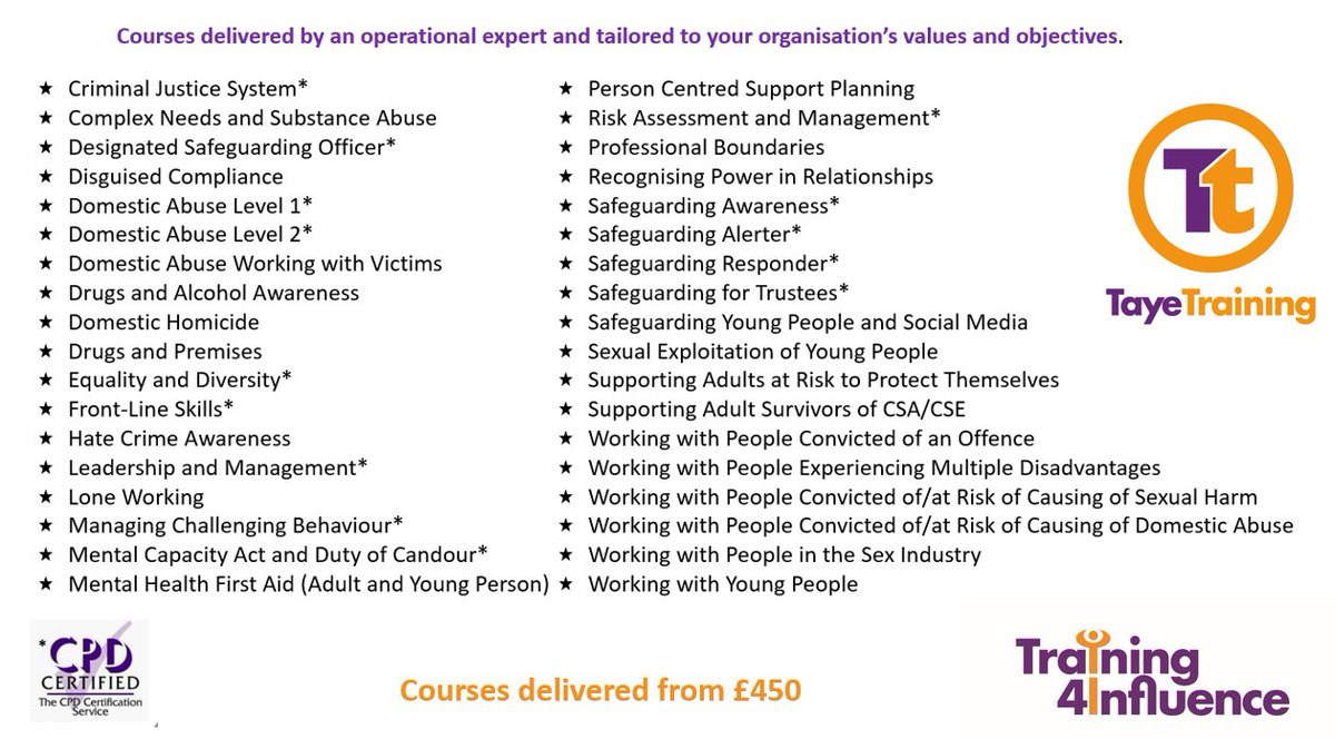 All Taye courses are delivered using the #Training4Influence methodology. If you'd like our operational experts to develop #training for you or if you'd like us to tailor one of our existing courses please email Enquiries@tayetraining.org.uk  #CriminalJustice #Charity #SocialCare