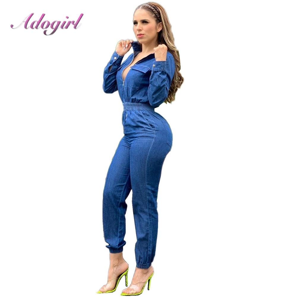 #model #cool Women Long Sleeve Jeans Denim Jumpsuit Casual Zipper Up Deep V Neck Jeans Rompers Sexy Streetwear Outfit Overalls