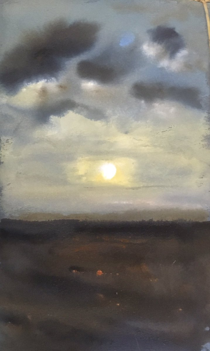 Sunset on ploughed field Dover Kent #watercolours   #artist #artistsoninstagram #theatre of #light #watercolour #ballet #gallery of #portrait #landscapes #painting #exhibition #art #painting #storm #Dover #Kent #London #sun #Zen #sunset