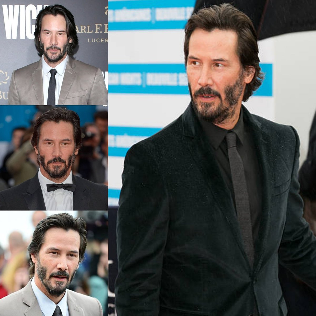 Short hair... Handsome... Just Keanu Reeves  - Sept 2015 & Feb 2017 (top left)   #keanureeves #handsome #hairstyle #manofstyle #johnwick2 #premiere #losangeles #KnockKnock #americanfilmfestival #Deauville #France #suit #tuxedopic.twitter.com/MeCP3geKZF