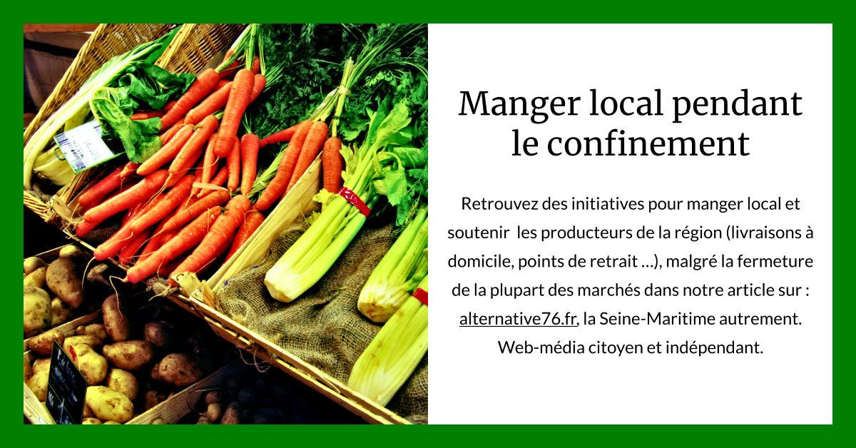 Confinement : les producteurs locaux s'organisent en Seine-Maritime. Retrouvez des initiatives pour manger local et soutenir les producteurs de la région (livraisons à domicile, points de retrait, les rares marchés encore ouverts …). https://www.alternative76.fr/2020/03/30/confinement-les-producteurs-locaux-s-organisent/… #bienmanger #Covid_19pic.twitter.com/2ZMGUfmUs7
